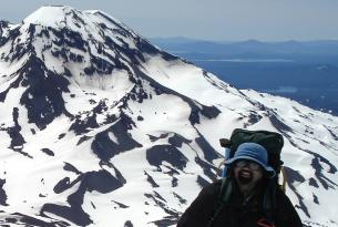 Vik Anantha doing what he loves - summitting an Oregon peak.